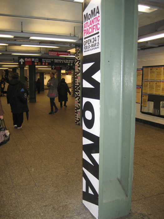 "MoMA signage is now on a ""forest"" of subway polls"